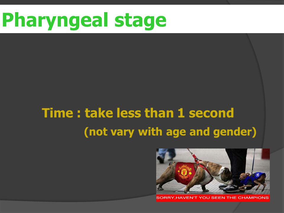er Time : take less than 1 second (not vary with age and gender) Pharyngeal stage