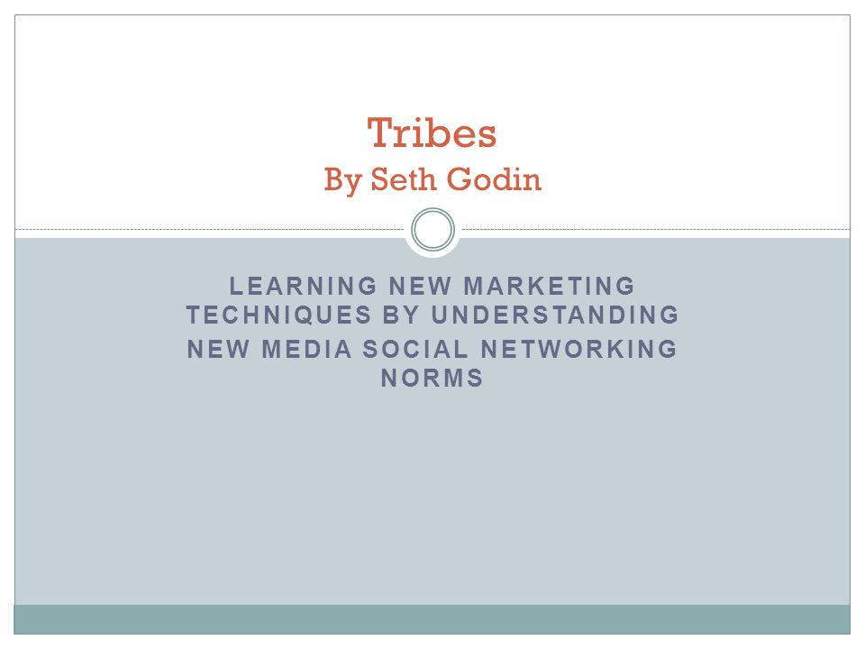 LEARNING NEW MARKETING TECHNIQUES BY UNDERSTANDING NEW MEDIA SOCIAL NETWORKING NORMS Tribes By Seth Godin