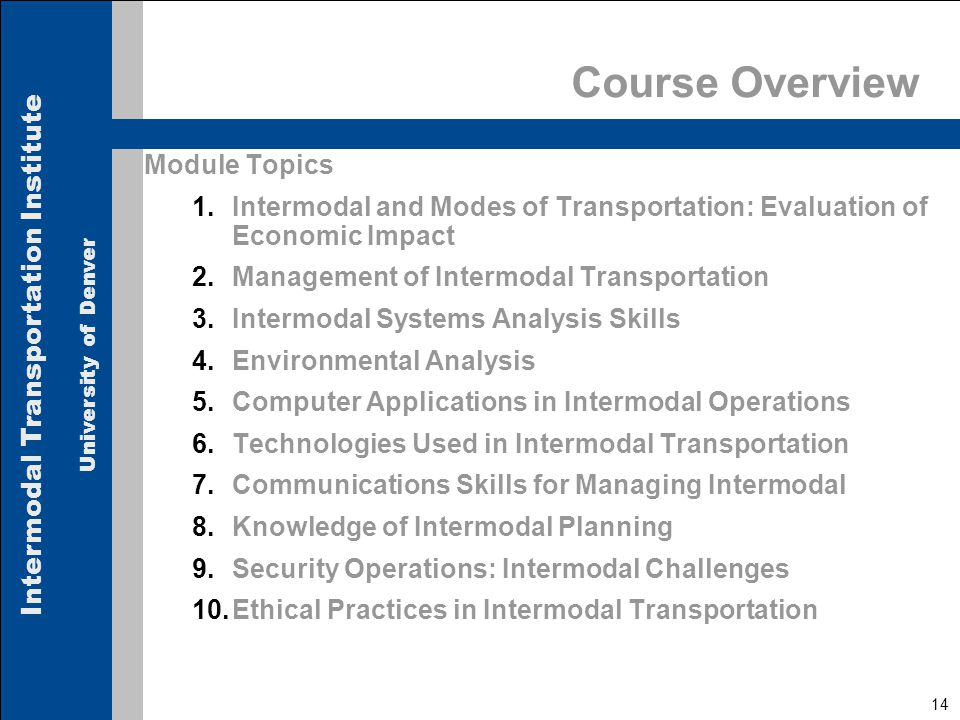 Intermodal Transportation Institute University of Denver 14 Course Overview Module Topics 1.Intermodal and Modes of Transportation: Evaluation of Economic Impact 2.Management of Intermodal Transportation 3.Intermodal Systems Analysis Skills 4.Environmental Analysis 5.Computer Applications in Intermodal Operations 6.Technologies Used in Intermodal Transportation 7.Communications Skills for Managing Intermodal 8.Knowledge of Intermodal Planning 9.Security Operations: Intermodal Challenges 10.Ethical Practices in Intermodal Transportation