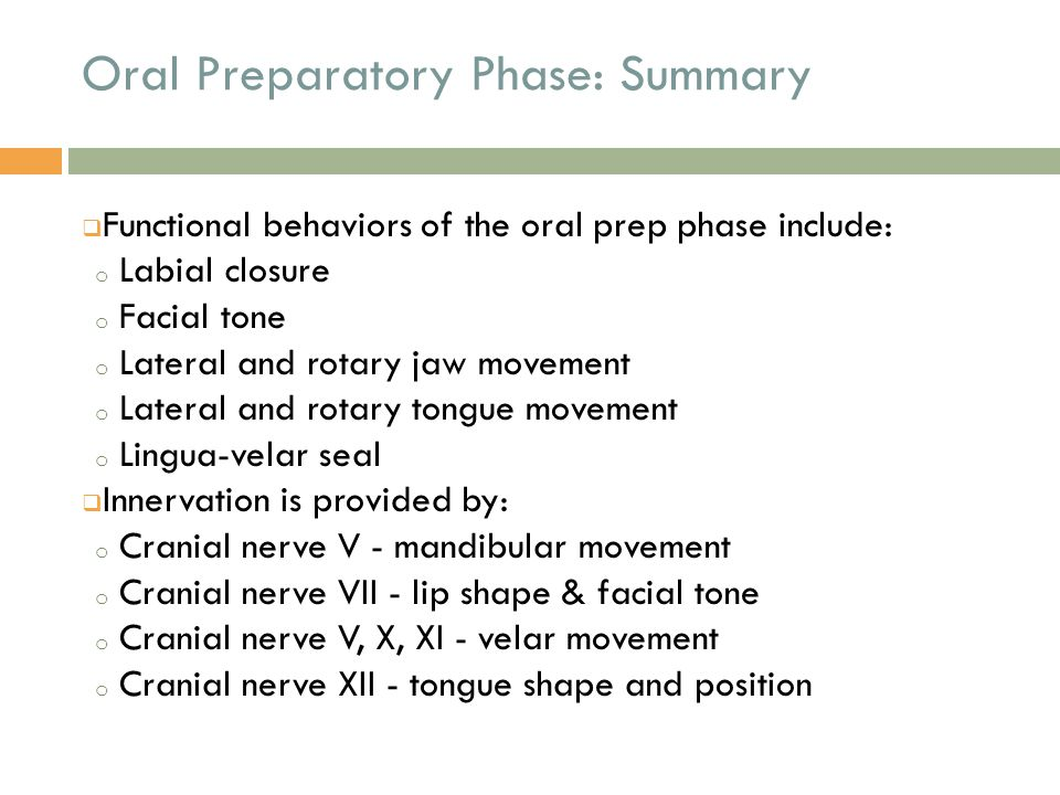 Oral Phase  The oral phase of swallow is initiated when the tongue begins posterior movement of the bolus.