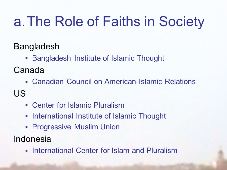 a.The Role of Faiths in Society Bangladesh  Bangladesh Institute of Islamic Thought Canada  Canadian Council on American-Islamic Relations US  Center for Islamic Pluralism  International Institute of Islamic Thought  Progressive Muslim Union Indonesia  International Center for Islam and Pluralism
