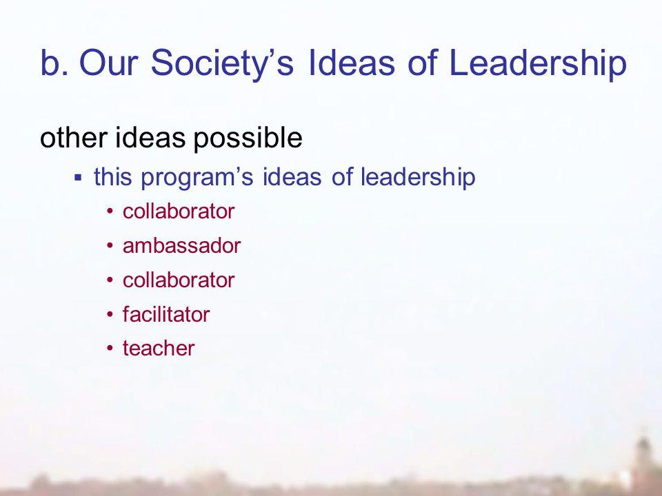 b.Our Society's Ideas of Leadership other ideas possible  this program's ideas of leadership collaborator ambassador collaborator facilitator teacher