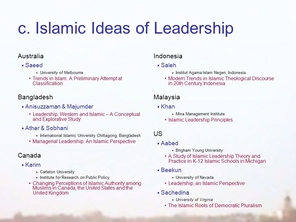 c.Islamic Ideas of Leadership Australia  Saeed  University of Melbourne Trends in Islam: A Preliminary Attempt at Classification Bangladesh  Anisuzzaman & Majumder Leadership: Western and Islamic – A Conceptual and Explorative Study  Ather & Sobhani  International Islamic University Chittagong, Bangladesh Managerial Leadership: An Islamic Perspective Canada  Karim  Carleton University  Institute for Research on Public Policy Changing Perceptions of Islamic Authority among Muslims in Canada, the United States and the United Kingdom Indonesia  Saleh  Institut Agama Islam Negeri, Indonesia Modern Trends in Islamic Theological Discourse in 20th Century Indonesia Malaysia  Khan  Mina Management Institute Islamic Leadership Principles US  Aabed  Brigham Young University A Study of Islamic Leadership Theory and Practice in K-12 Islamic Schools in Michigan  Beekun  University of Nevada Leadership, an Islamic Perspective  Sachedina  University of Virginia The Islamic Roots of Democratic Pluralism