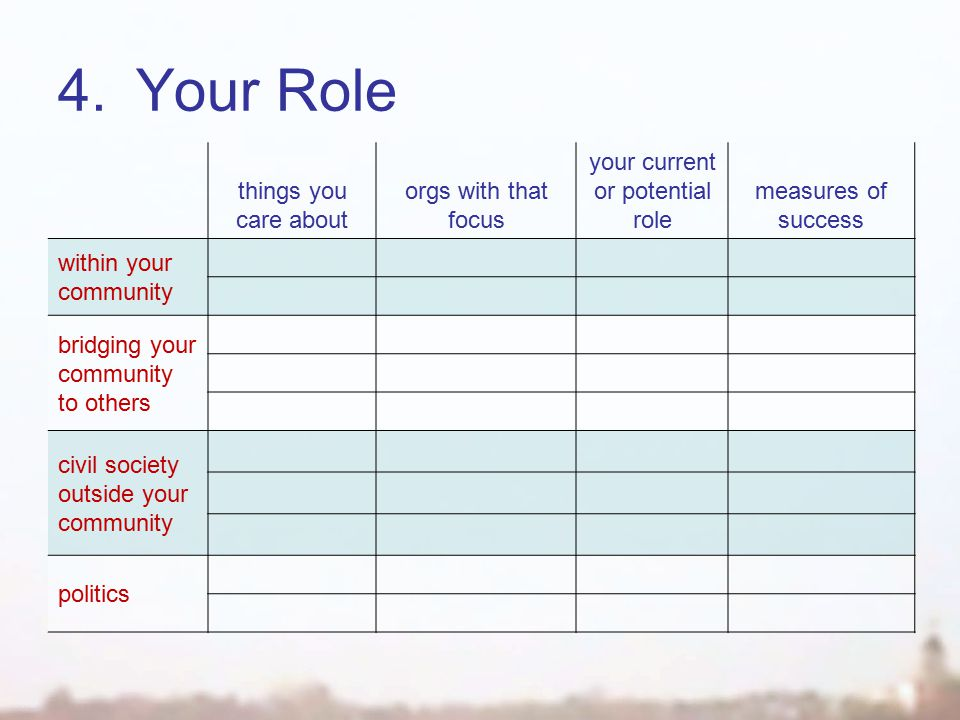 4.Your Role things you care about orgs with that focus your current or potential role measures of success within your community bridging your community to others civil society outside your community politics