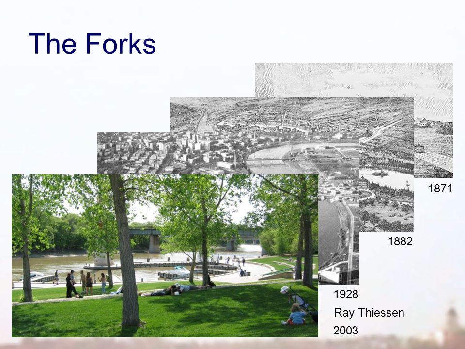 The Forks http://www.ryanthiessen.com/gallery/na2003_winnipeg Ray Thiessen 1882 http://www.aerialphotographs.ca/thenandnow/winnipeg.html 1928 1871 2003