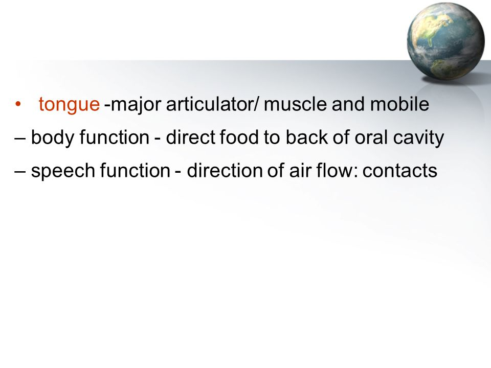 tongue -major articulator/ muscle and mobile – body function - direct food to back of oral cavity – speech function - direction of air flow: contacts