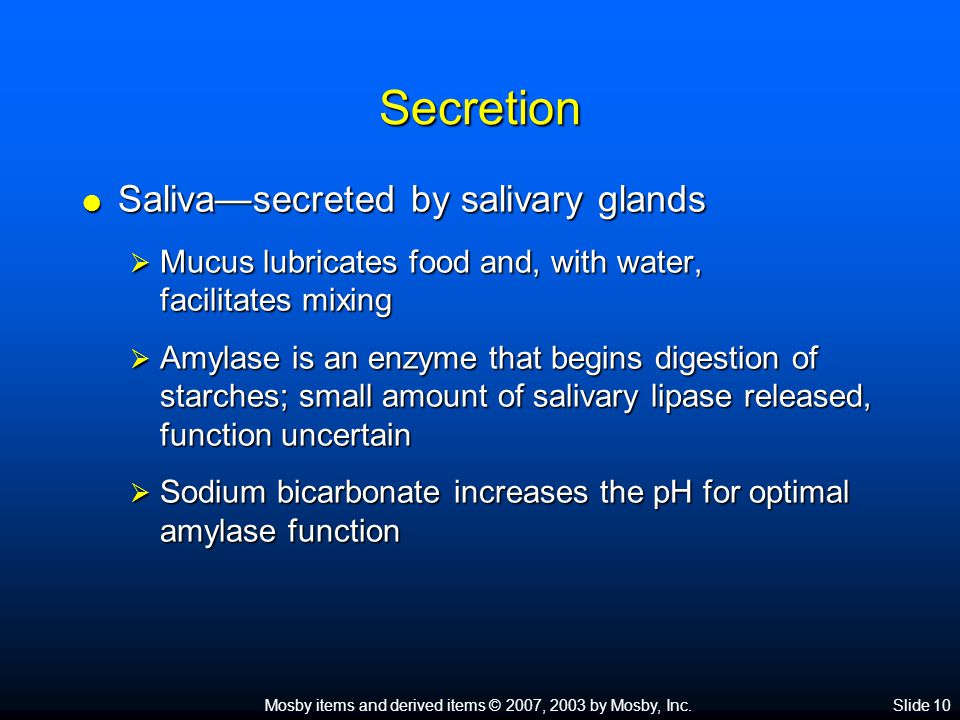 Mosby items and derived items © 2007, 2003 by Mosby, Inc.Slide 10 Secretion  Saliva—secreted by salivary glands  Mucus lubricates food and, with wat