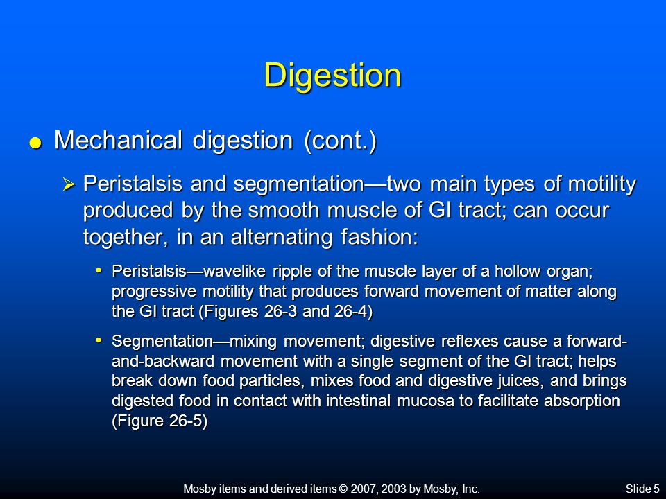 Mosby items and derived items © 2007, 2003 by Mosby, Inc.Slide 5 Digestion  Mechanical digestion (cont.)  Peristalsis and segmentation—two main type