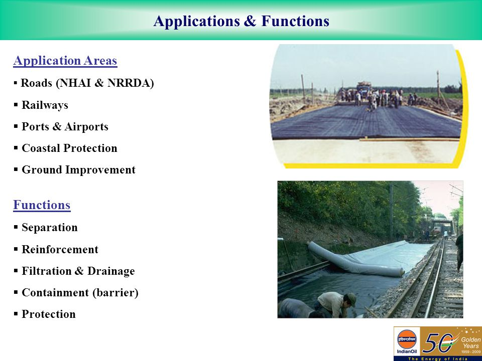 Applications & Functions Application Areas  Roads (NHAI & NRRDA)  Railways  Ports & Airports  Coastal Protection  Ground Improvement Functions  Separation  Reinforcement  Filtration & Drainage  Containment (barrier)  Protection