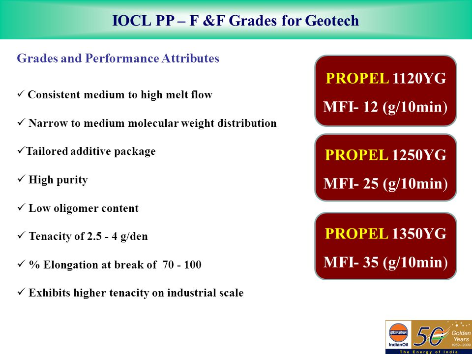 IOCL PP – F &F Grades for Geotech Grades and Performance Attributes Consistent medium to high melt flow Narrow to medium molecular weight distribution Tailored additive package High purity Low oligomer content Tenacity of 2.5 - 4 g/den % Elongation at break of 70 - 100 Exhibits higher tenacity on industrial scale PROPEL 1120YG MFI- 12 (g/10min) PROPEL 1250YG MFI- 25 (g/10min) PROPEL 1350YG MFI- 35 (g/10min)