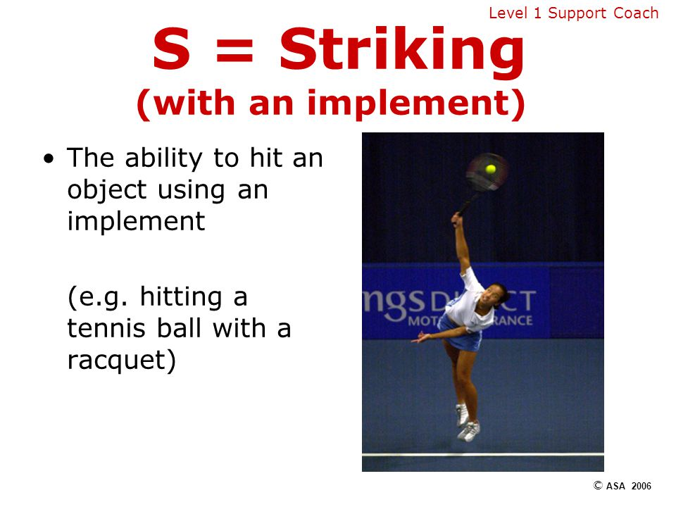 S = Striking (with an implement) The ability to hit an object using an implement (e.g.