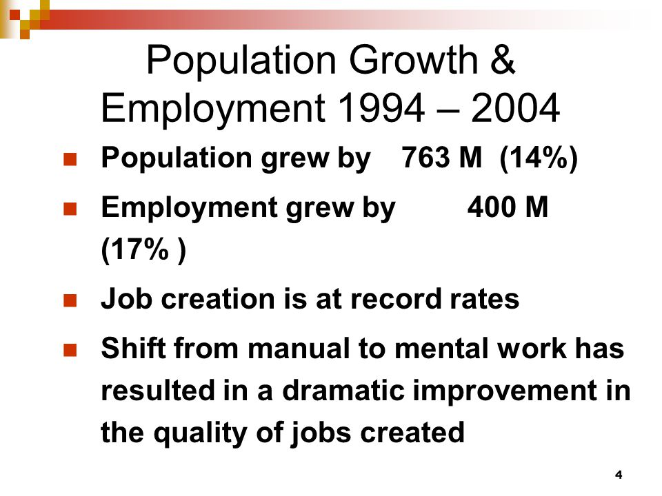 4 Population Growth & Employment 1994 – 2004 Population grew by 763 M (14%) Employment grew by 400 M (17% ) Job creation is at record rates Shift from manual to mental work has resulted in a dramatic improvement in the quality of jobs created