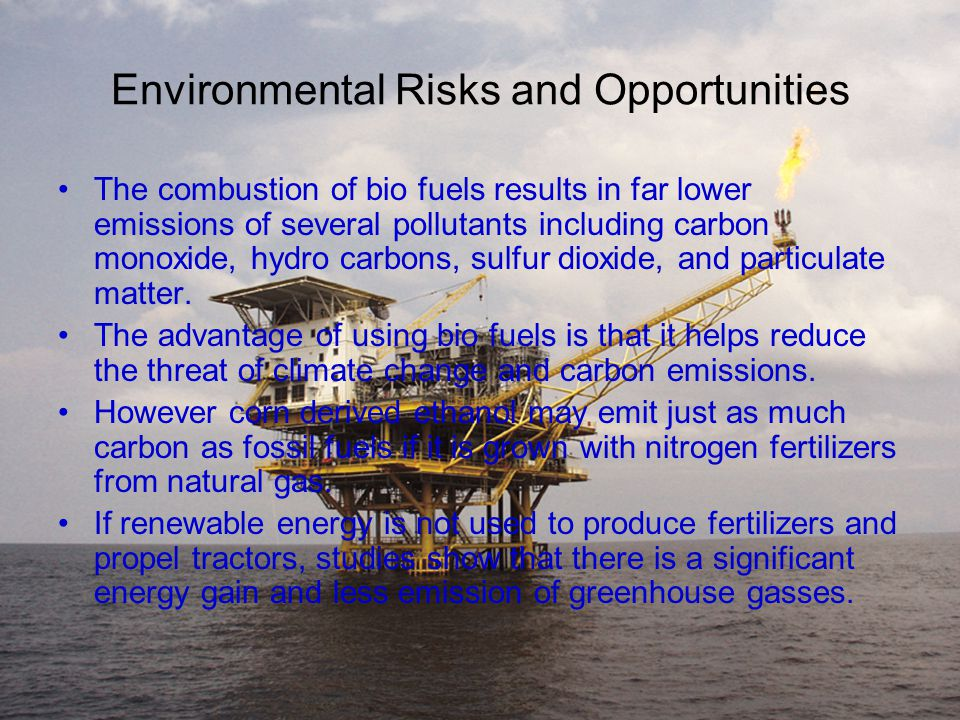 Environmental Risks and Opportunities The combustion of bio fuels results in far lower emissions of several pollutants including carbon monoxide, hydro carbons, sulfur dioxide, and particulate matter.