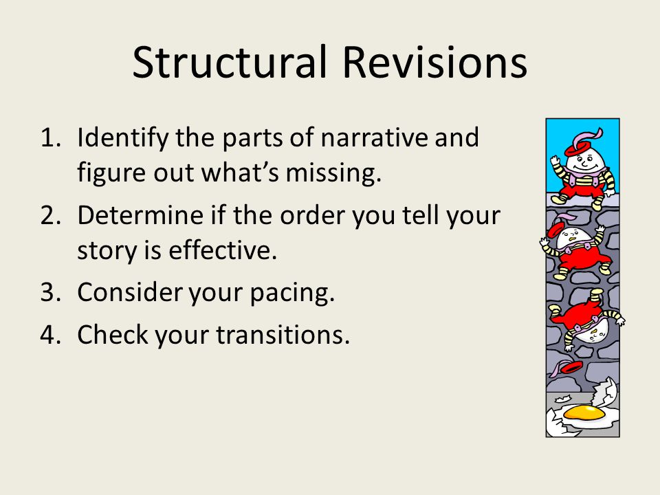 Structural Revisions 1.Identify the parts of narrative and figure out what's missing.