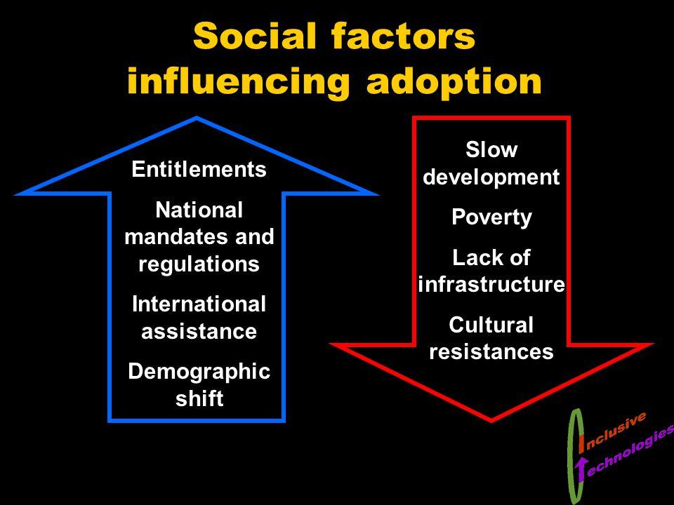 Social factors influencing adoption Slow development Poverty Lack of infrastructure Cultural resistances Entitlements National mandates and regulations International assistance Demographic shift