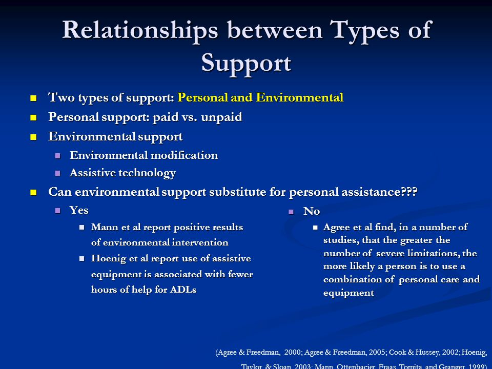 Relationships between Types of Support Two types of support: Personal and Environmental Two types of support: Personal and Environmental Personal support: paid vs.