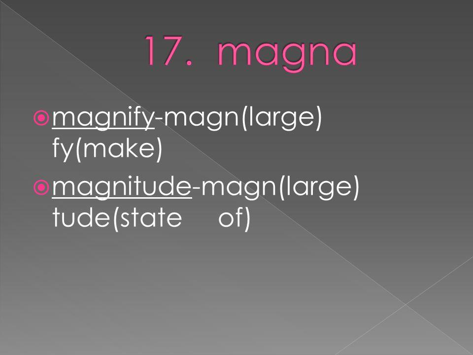  magnify-magn(large) fy(make)  magnitude-magn(large) tude(state of)