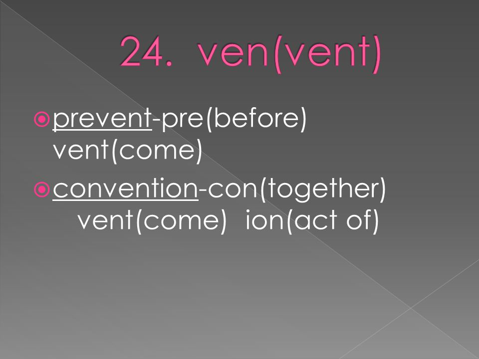  prevent-pre(before) vent(come)  convention-con(together) vent(come) ion(act of)