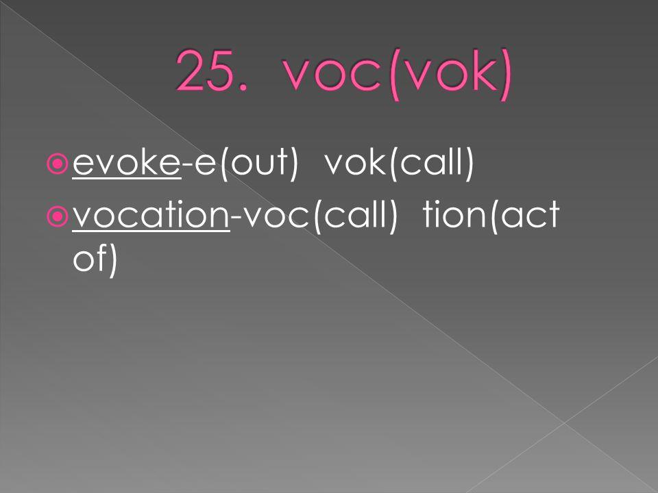  evoke-e(out) vok(call)  vocation-voc(call) tion(act of)