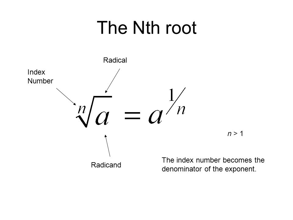 The Nth root Index Number Radicand Radical The index number becomes the denominator of the exponent.