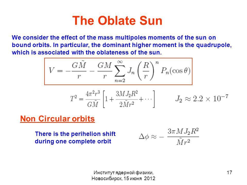 Институт ядерной физики, Новосибирск, 15 июня 2012 17 The Oblate Sun We consider the effect of the mass multipoles moments of the sun on bound orbits.