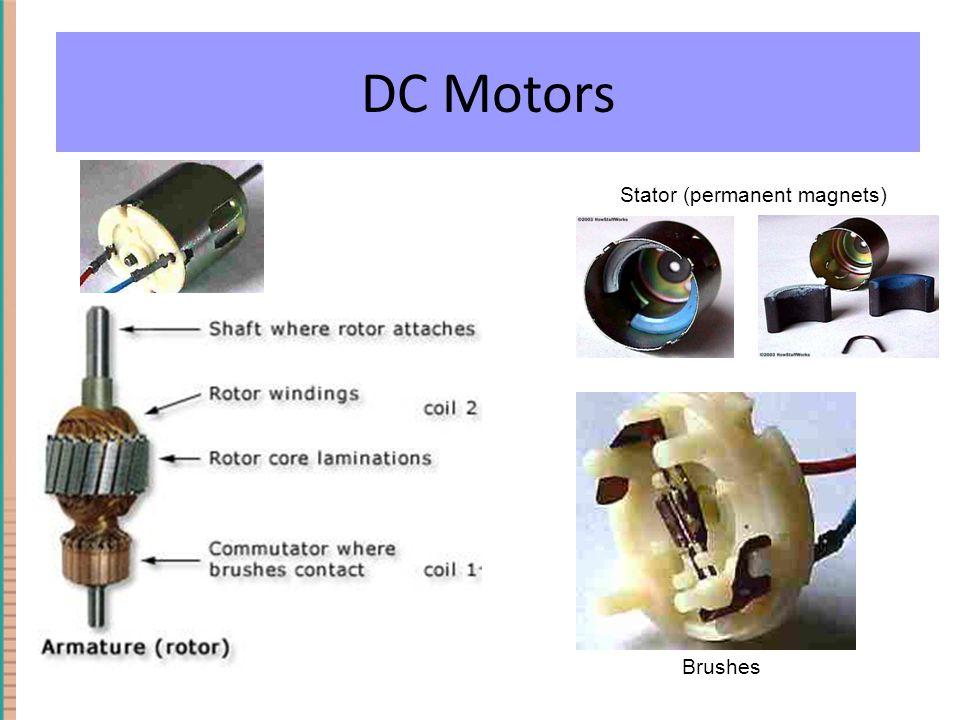 DC Motor: Brush Motors Brushes Stator (permanent magnets) DC Motors