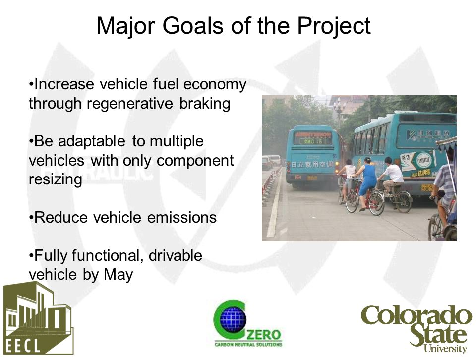 Increase vehicle fuel economy through regenerative braking Be adaptable to multiple vehicles with only component resizing Reduce vehicle emissions Fully functional, drivable vehicle by May Major Goals of the Project