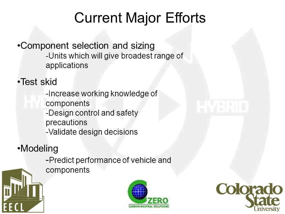 Current Major Efforts Component selection and sizing -Units which will give broadest range of applications Test skid -Increase working knowledge of components -Design control and safety precautions -Validate design decisions Modeling - Predict performance of vehicle and components