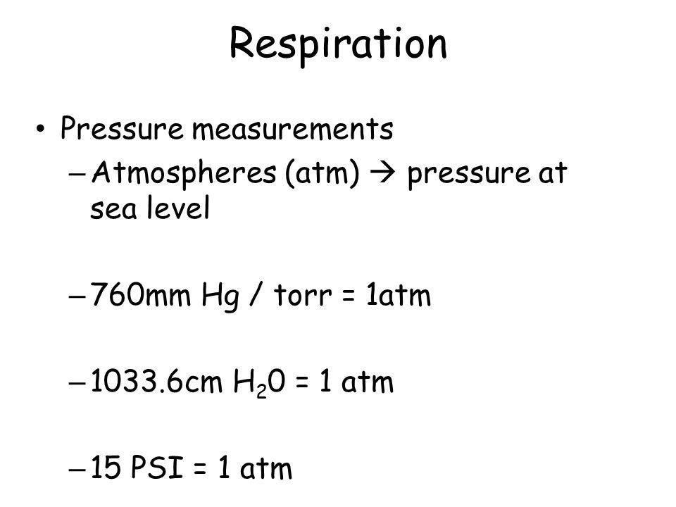 Respiration Pressure measurements – Atmospheres (atm)  pressure at sea level – 760mm Hg / torr = 1atm – 1033.6cm H 2 0 = 1 atm – 15 PSI = 1 atm