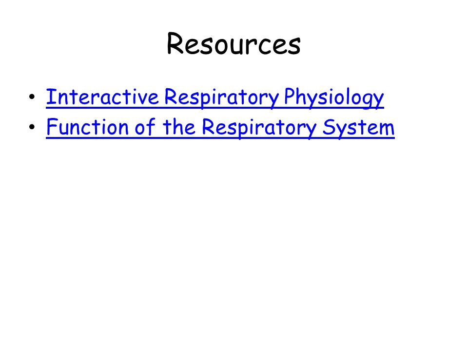 Resources Interactive Respiratory Physiology Function of the Respiratory System