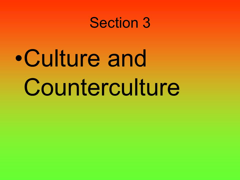 Section 3 Culture and Counterculture