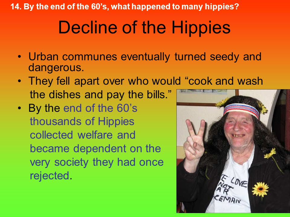 """Decline of the Hippies Urban communes eventually turned seedy and dangerous. They fell apart over who would """"cook and wash the dishes and pay the bill"""