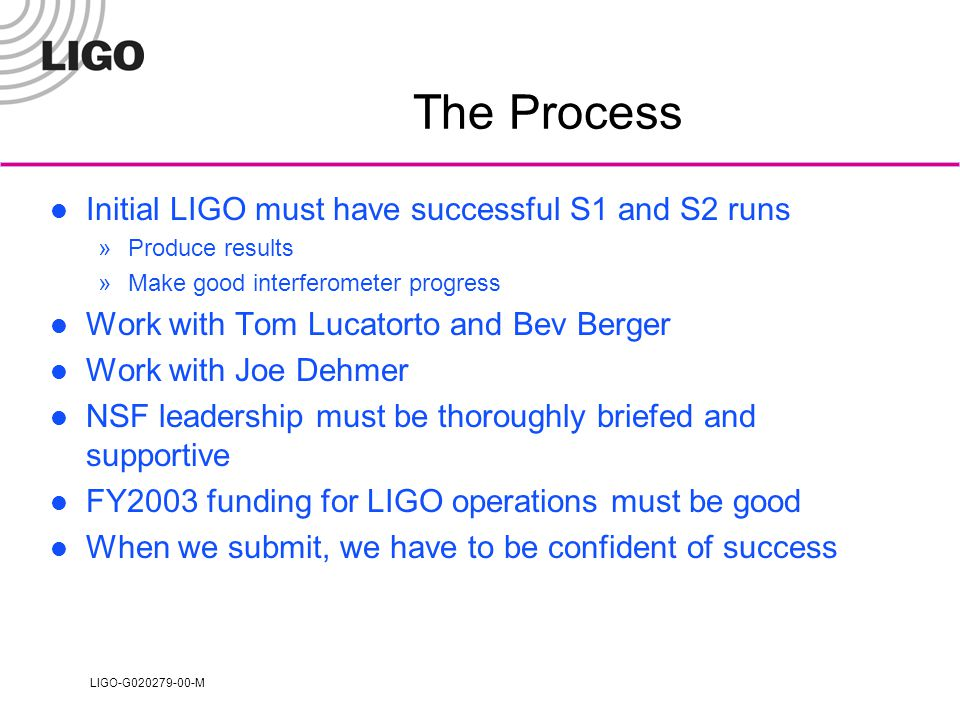 LIGO-G020279-00-M The Process Initial LIGO must have successful S1 and S2 runs »Produce results »Make good interferometer progress Work with Tom Lucatorto and Bev Berger Work with Joe Dehmer NSF leadership must be thoroughly briefed and supportive FY2003 funding for LIGO operations must be good When we submit, we have to be confident of success