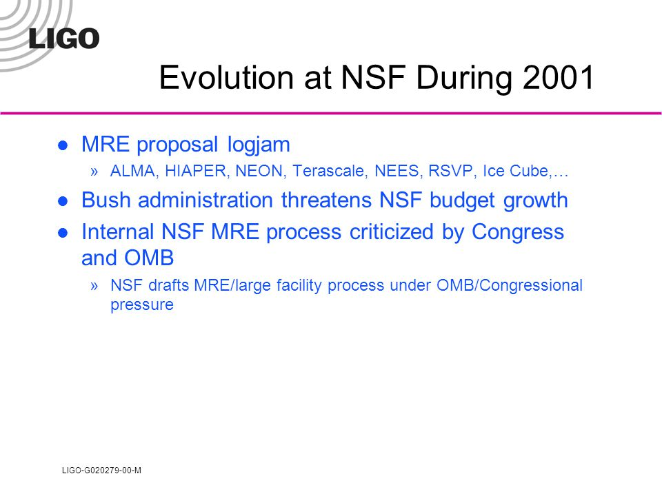 LIGO-G020279-00-M Evolution at NSF During 2001 MRE proposal logjam »ALMA, HIAPER, NEON, Terascale, NEES, RSVP, Ice Cube,… Bush administration threatens NSF budget growth Internal NSF MRE process criticized by Congress and OMB »NSF drafts MRE/large facility process under OMB/Congressional pressure
