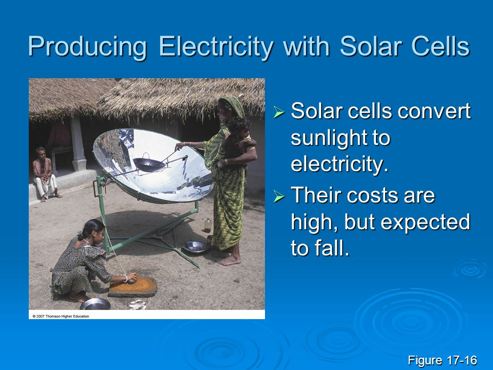 Producing Electricity with Solar Cells  Solar cells convert sunlight to electricity.  Their costs are high, but expected to fall. Figure 17-16