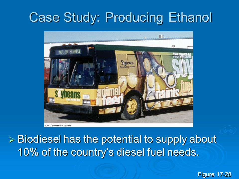 Case Study: Producing Ethanol  Biodiesel has the potential to supply about 10% of the country's diesel fuel needs. Figure 17-28