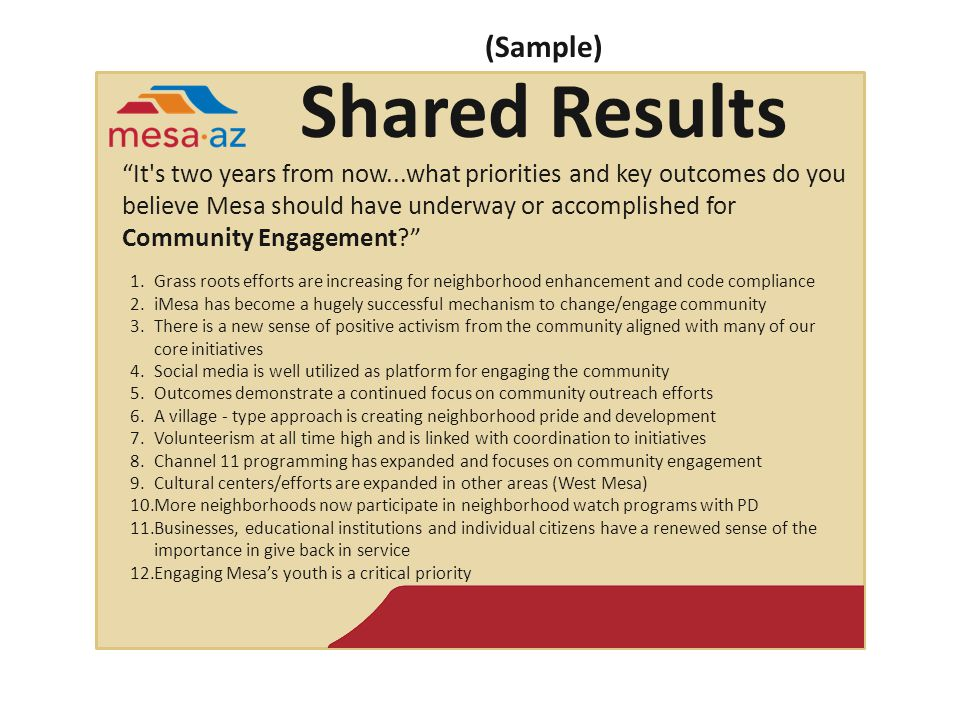 (Sample) Shared Results It s two years from now...what priorities and key outcomes do you believe Mesa should have underway or accomplished for Community Engagement? 1.Grass roots efforts are increasing for neighborhood enhancement and code compliance 2.iMesa has become a hugely successful mechanism to change/engage community 3.There is a new sense of positive activism from the community aligned with many of our core initiatives 4.Social media is well utilized as platform for engaging the community 5.Outcomes demonstrate a continued focus on community outreach efforts 6.A village - type approach is creating neighborhood pride and development 7.Volunteerism at all time high and is linked with coordination to initiatives 8.Channel 11 programming has expanded and focuses on community engagement 9.Cultural centers/efforts are expanded in other areas (West Mesa) 10.More neighborhoods now participate in neighborhood watch programs with PD 11.Businesses, educational institutions and individual citizens have a renewed sense of the importance in give back in service 12.Engaging Mesa's youth is a critical priority