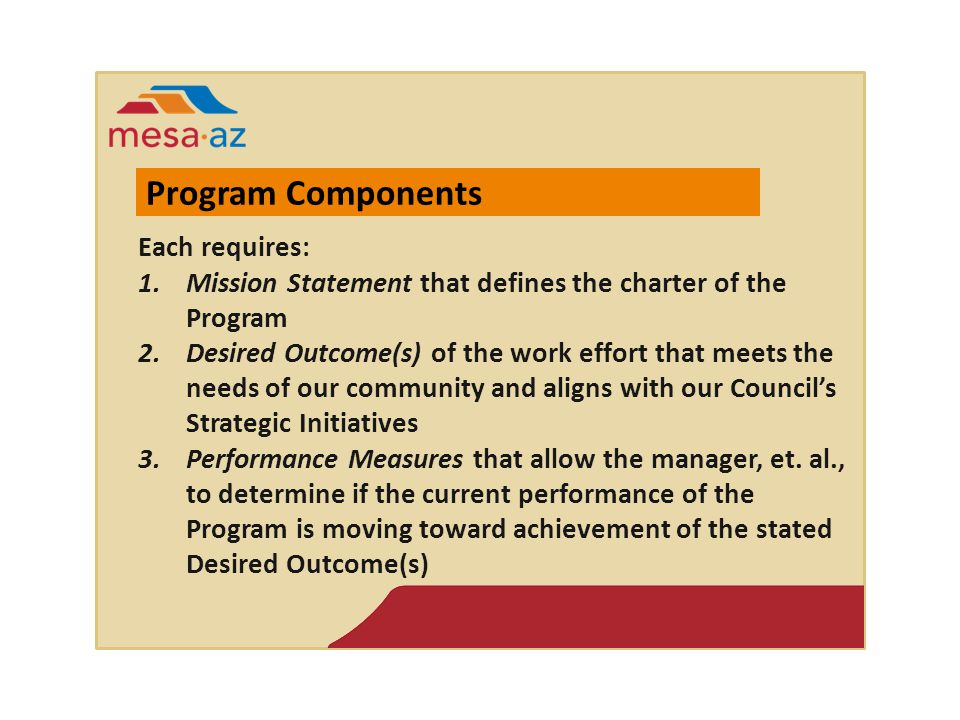 Each requires: 1.Mission Statement that defines the charter of the Program 2.Desired Outcome(s) of the work effort that meets the needs of our community and aligns with our Council's Strategic Initiatives 3.Performance Measures that allow the manager, et.