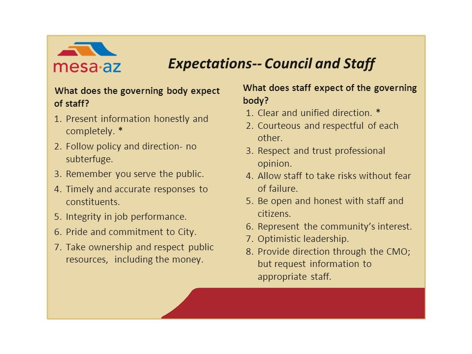Expectations-- Council and Staff What does the governing body expect of staff.