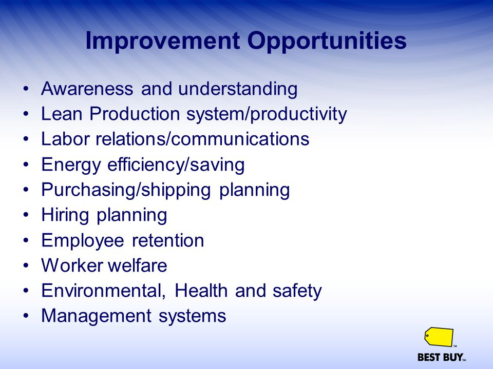Improvement Opportunities Awareness and understanding Lean Production system/productivity Labor relations/communications Energy efficiency/saving Purc