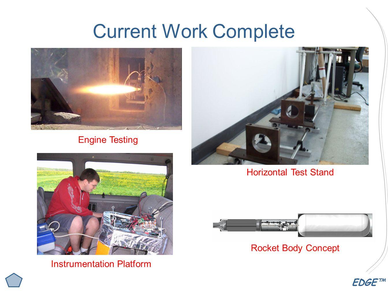 EDGE™ Current Work Complete Rocket Body Concept Horizontal Test Stand Instrumentation Platform Engine Testing