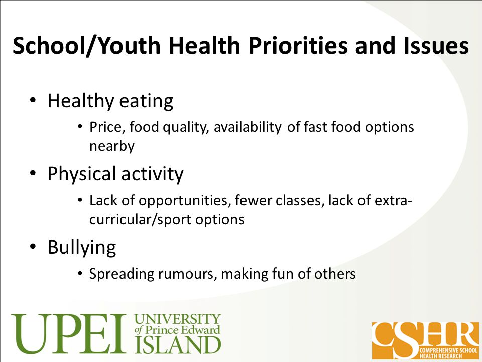 School/Youth Health Priorities and Issues Healthy eating Price, food quality, availability of fast food options nearby Physical activity Lack of opportunities, fewer classes, lack of extra- curricular/sport options Bullying Spreading rumours, making fun of others