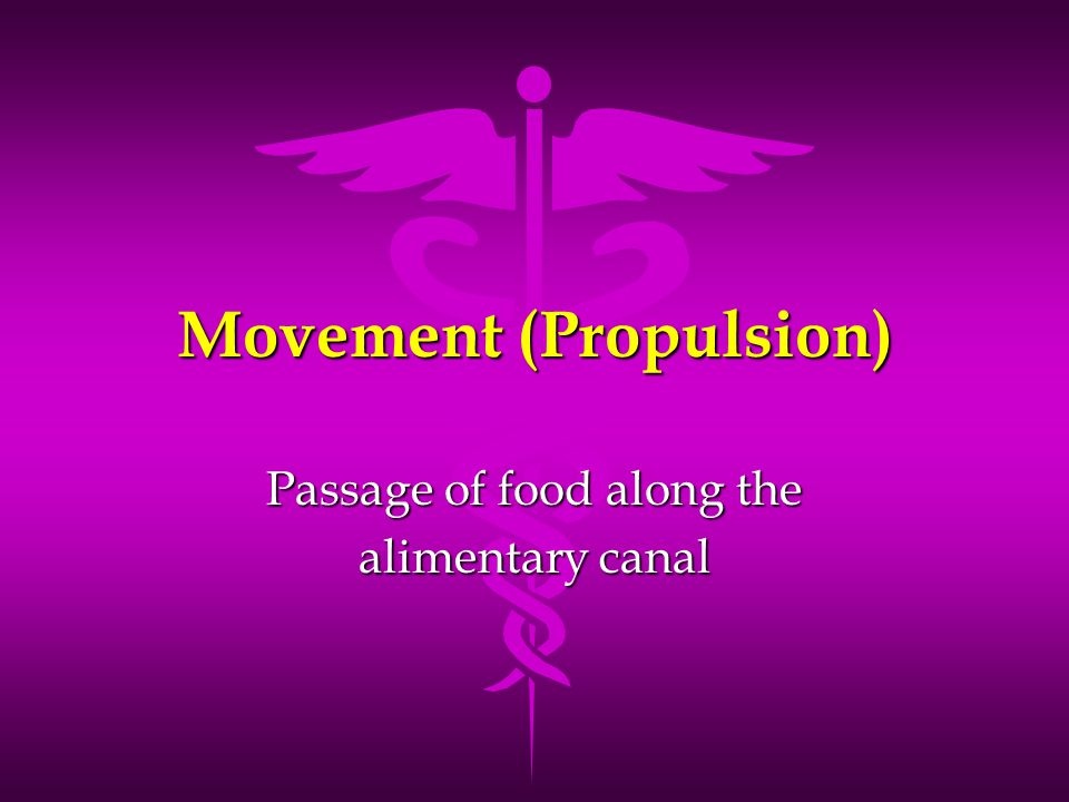 Movement (Propulsion) Passage of food along the alimentary canal