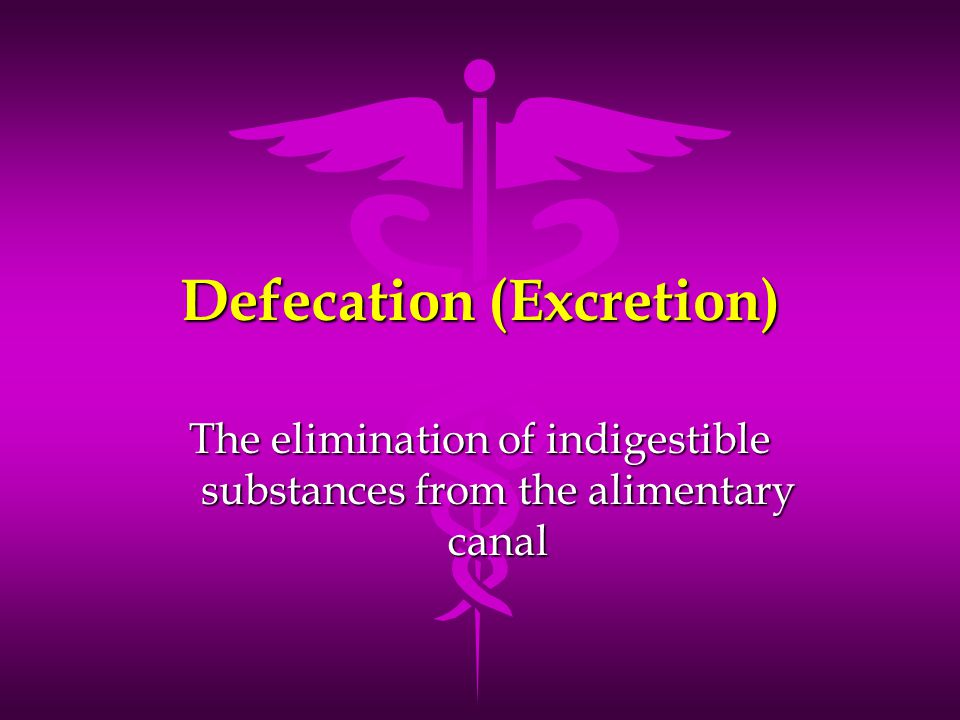 Defecation (Excretion) The elimination of indigestible substances from the alimentary canal
