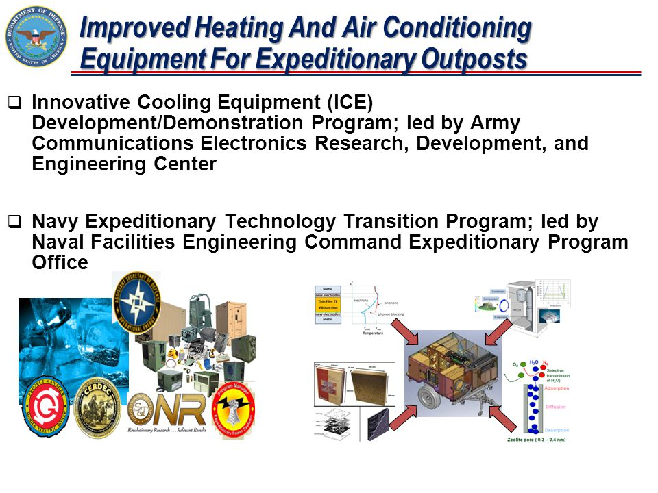 Improved Heating And Air Conditioning Equipment For Expeditionary Outposts  Innovative Cooling Equipment (ICE) Development/Demonstration Program; led by Army Communications Electronics Research, Development, and Engineering Center  Navy Expeditionary Technology Transition Program; led by Naval Facilities Engineering Command Expeditionary Program Office