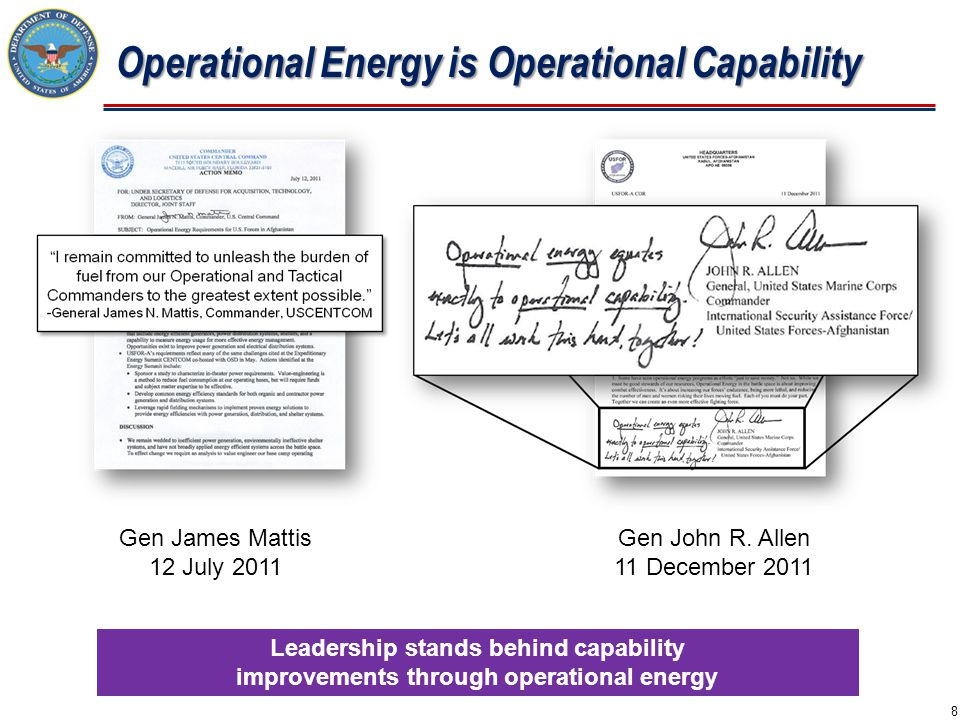  Measure Operational Energy Consumption  Improve Energy Performance and Efficiency  Promote Operational Energy Innovation  Improve Operational Energy Security at Fixed Installations  Promote the Development of Alternative Fuels  Incorporate Energy Security Considerations into Requirements and Acquisition  Adapt Policy, Doctrine, PME, and CCMD Activities Implementation Plan 9 Near, Mid, and Long-Term Goals Energy Security for the Warfighter