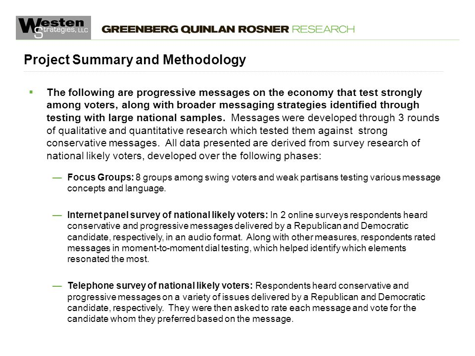 May 5, 2015  The following are progressive messages on the economy that test strongly among voters, along with broader messaging strategies identified through testing with large national samples.