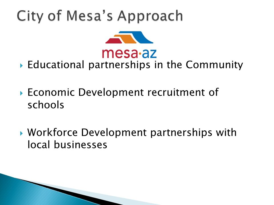  Educational partnerships in the Community  Economic Development recruitment of schools  Workforce Development partnerships with local businesses