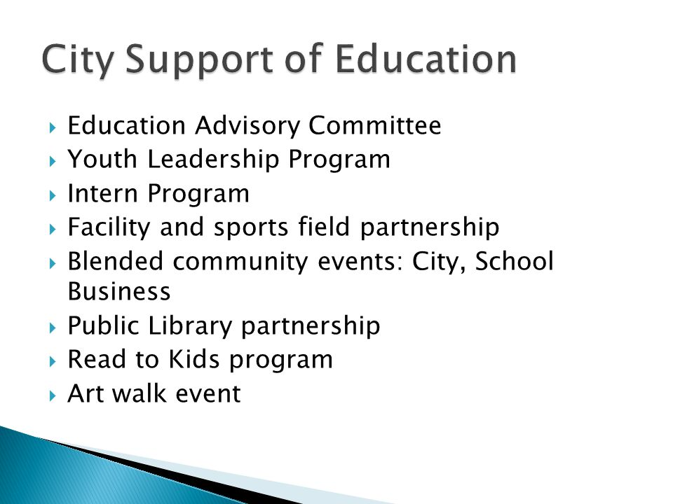  Education Advisory Committee  Youth Leadership Program  Intern Program  Facility and sports field partnership  Blended community events: City, S