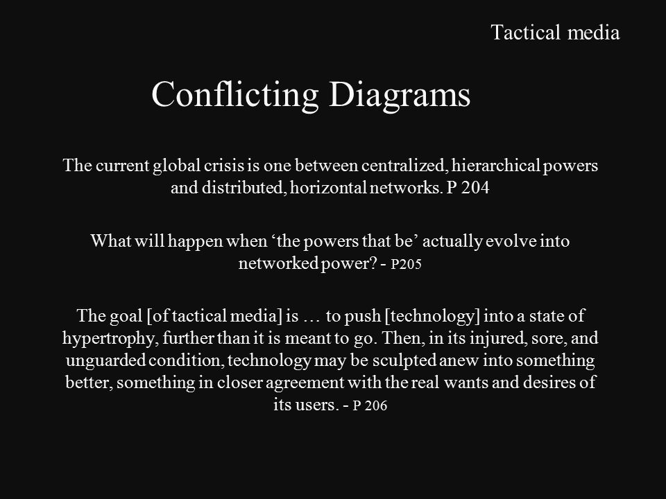 Tactical media The current global crisis is one between centralized, hierarchical powers and distributed, horizontal networks.